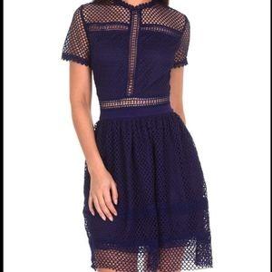 Navy Crochet short sleeve mini dress (6)